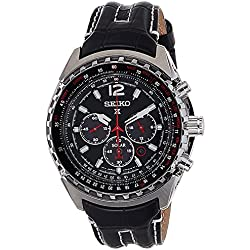 Seiko Solar Chronograph - Watch Men - Automatic - black dial - Black Leather Strap - ssc261p2