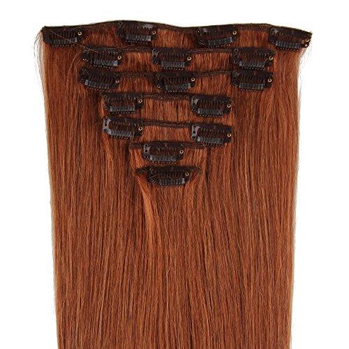 Beauty7 Extensions de cheveux humains à clip 100% Remy Hair 30# Couleur Auburns Clair Longueur 38 cm Poids 70 grams