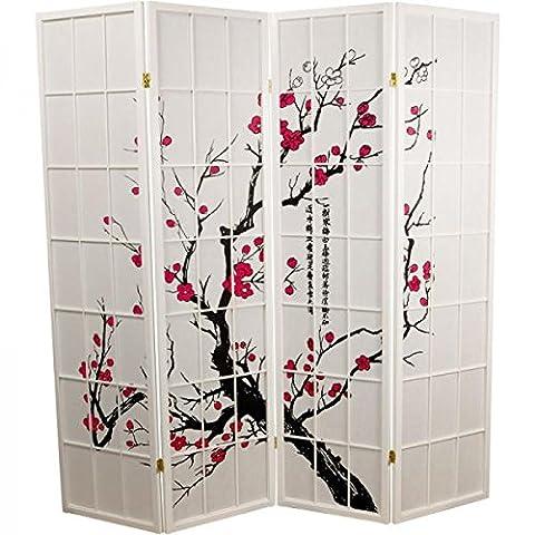 Fine Asianliving séparateur de pièce Paravent Paravent japonais Shoji écran papier de riz 4panneaux Sakura Cherryblossom meubles Home Decor écrans Oriental asiatique Blanc Style japonais (papier de riz)