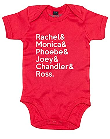 Friends Cast, Baby Grow - Red/White 0-3