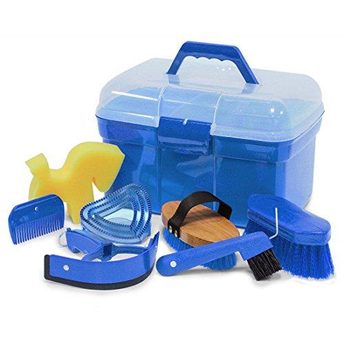 Putzbox Putzkiste befüllt mit Zubehör für Pferde Farbe: azurblau| Putzkasten | Putzkoffer Putzbox mit Inhalt