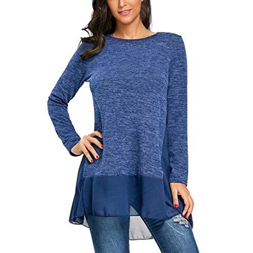 MEIbax Frauen langhülse T-Shirt beiläufige Chiffon Patchwork O-Ansatz Spitzenbluse Lose Tunika Sweatshirt Pullover Langarmshirt Oberteile