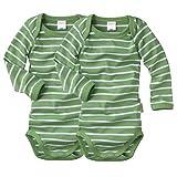 wellyou, 2er Set Kinder Baby-Body Langarm-Body, grün weiß gestreift, geringelt, Feinripp 100% Baumwolle, Größe 50-134