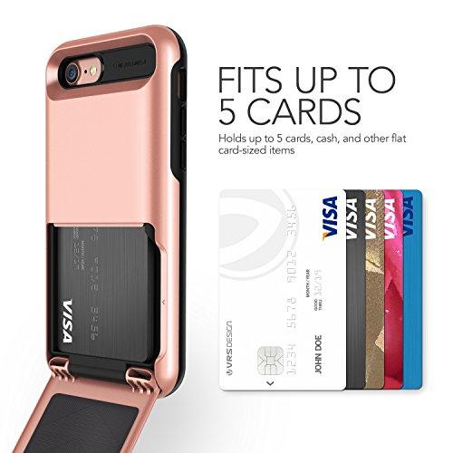 iPhone 7 Hülle, VRS Design [Damda Folder Serie] Kartenfach Kratzfeste Schutzhülle mit Militärischer Schutz für Apple iPhone 7 - Rosa Gold Rosa Gold