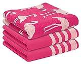 Erwin Müller Handtuch 3er-Pack Jacquard pink-Natur Größe 50x100 cm