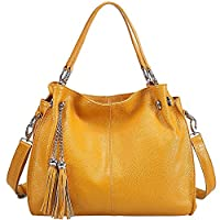 Sonyabecca Women's Soft Genuine Leather Hobo Bags Cross Body Shoulder Bag Ladies Handbags with Tassel