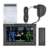 Providethebest Wireless-Farb-Thermometer-Hygrometer Innen Au?en Wetterstation Vorhersage Alarm Temperatur- und Feuchtigkeitsmessger?t EU-Stecker