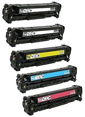 Pack 5 Compatibles Toner Laser pour HP Color LaserJet Pro M252dw, M252n, MFP M277dw, MFP M277n | Remplacement pour HP 201X (CF400X, CF401X, CF403X, CF402X) | Noir: 2800 Pages & Cyan/Magenta/Jaune: 2300 Pages