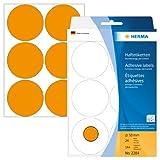 Herma 2284 Vielzwecketiketten bunt, rund (Ø 50 mm) neon orange, 144 Klebepunkte, 24 Blatt, Papier, selbstklebend