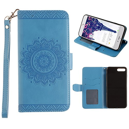 Cover iPhone 7 Libro, Caso iPhone 7 Flip Custodiain Pelle, Moon mood® Mandala Custodia in Cuoio PU Portafoglio Shell con Carta Slots Shockproof Leather Wallet Stand Cover Flip Case with Magnetic Snap Blue