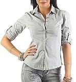 169 Mississhop Damen Klassische Hemdbluse Business Hemd Casual Bluse Oberteil Top Tunika T-Shirt Tailliert Unifarben Uni Hellgrau S