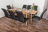 Wooden Nature Esstisch-Set ausziehbar 234 inkl. 8 Stühle (schwarz), Buche Massivholz - 110-190 x 70 (L x B)