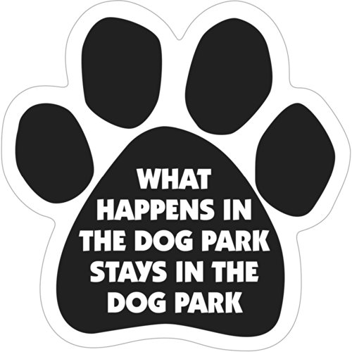 6 Dog/Animal Paw Print Magnet - Works on Cars, Trucks, Refrigerators and More (What Happens in the Dog Park...) by Magnetic Pedigrees