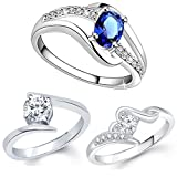 #6: Lady touch Combo Of Silver Plated Blue Diamond Ring For Girl's And Women's_Adjustable (Free Size)