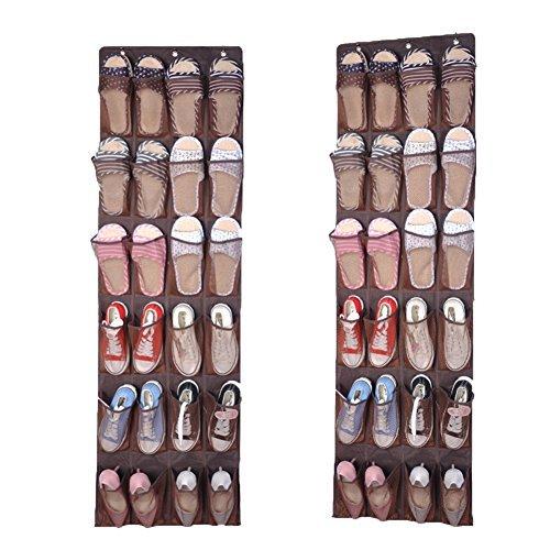 Milopon Schuh Hänge Taschen Schuhaufbewahrung Stoffwandbehang Tür Schuhorganisator Aufbewahrungstasche Hängeorganizer mit 3 Haken 24 Taschen (Braun)
