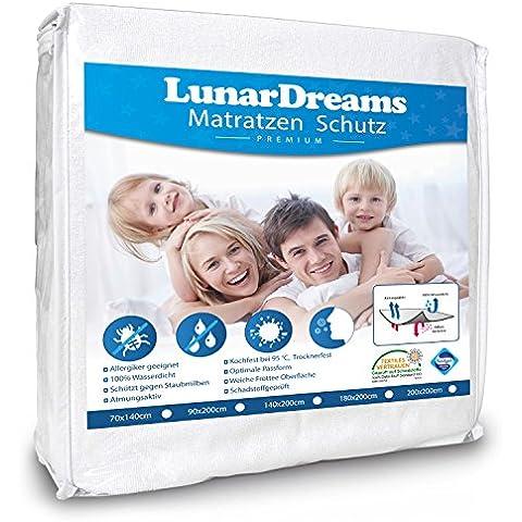 Lunar Dreams - Cubrecolchón (impermeable, apto para alérgicos, protege contra la humedad, ácaros, bacterias y alérgenos), blanco, 90 x 200 cm