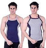 Zimfit Gym Vest - Pack of 2 (Grey_Blue_3...