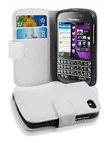 Cadorabo Hülle für BlackBerry Q10 - Hülle in Magnesium WEIß – Handyhülle mit Kartenfach aus struktriertem Kunstleder - Case Cover Schutzhülle Etui Tasche Book Klapp Style