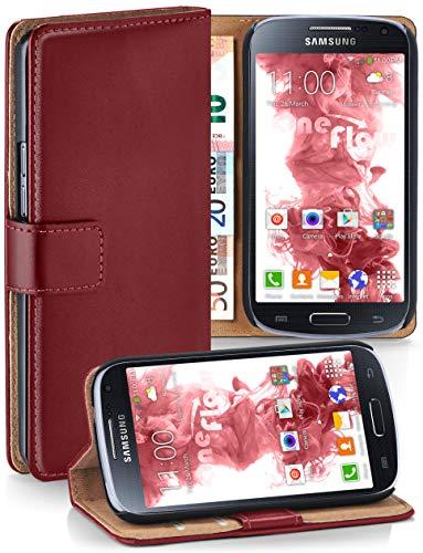 moex® Booklet mit Flip Funktion [360 Grad Voll-Schutz] für Samsung Galaxy S4 | Geldfach und Kartenfach + Stand-Funktion und Magnet-Verschluss, Dunkel-Rot