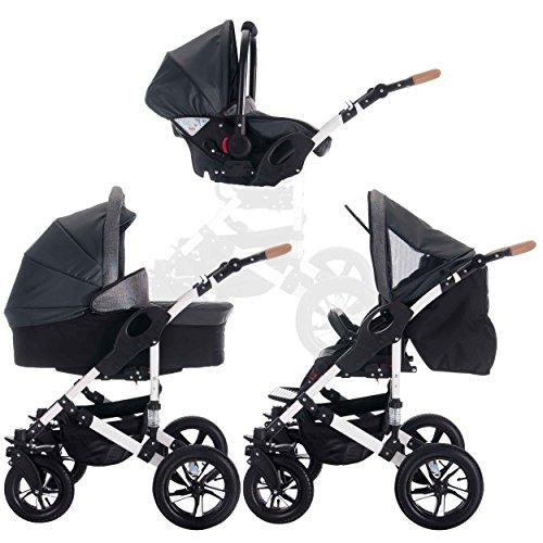 Bebebi myVARIO | 3 in 1 Kombi Kinderwagen Komplettset | Hartgummireifen | Farbe: myStar