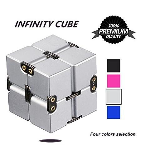 Unendlicher Würfel, P.LOTOR Magic Infinity Flip Cube Edc Fidgeting Square Shaped Release Stress Spielzeug für Angst und Langeweile, Silber Eloxiertes Aluminium
