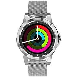 DIGGRO DI03 Plus Smart Watch Siri Bluetooth Montre Connectée Intelligent IP67 Moniteur Sommeil Cardiofrequencemetre Podomètre (Argent/Bracelet milanais)