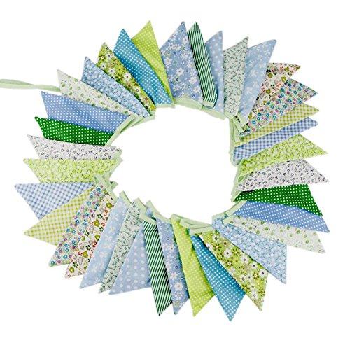 Süße Beidseitig Wimpel Girlande, 10M Bunting Wimpelkette mit 36 STK Farbenfroh Wimpeln für Hochzeits Geburtstag Party (Grün)