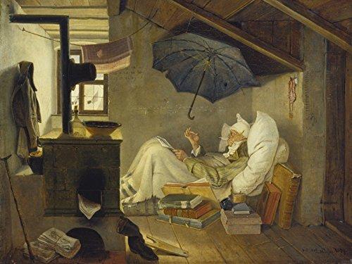 Gerollte Arme (Artland Leinwand auf Keilrahmen oder gerolltes Poster mit Motiv Carl Spitzweg Der arme Poet. 1839 Menschen Mann Malerei Braun A2BN)