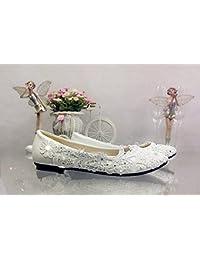 JINGXINSTORE Marfil Cordón Crystal zapatos de boda talón plano nupcial Tamaño de bomba 5.5-12,marfil,US 7