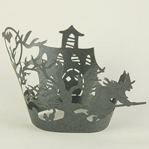 24 Stk Cup Cake Wrapper zur Dekoration der Muffinförmchen – Hexe (Halloween Dekor Cupcake Ideen)