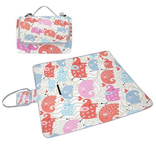 COOSUN Manta de picnic con diseño de elefantes (resistente al moho, impermeable,...