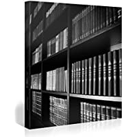 Gallery of Innovative Art – Black & White Bookshelf – 80x80cm – Larga stampa su tela per decorazione murale – Immagine su tela su telaio in legno – Stampa su tela Giclée – Arazzo decorazione murale
