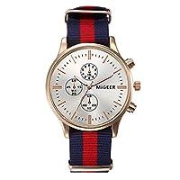 Souarts Unisex Quartz Analog Watch Nylon Blue Red Blue Luminous White Dial Wrist Watch