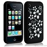 Housse coque etui silicone pour Apple Iphone 3G/3Gs motif fleur couleur noir