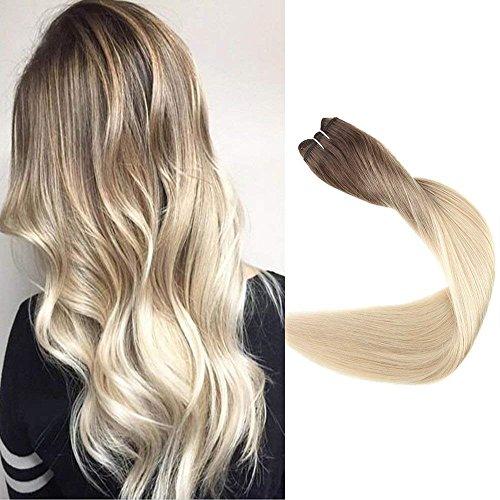 Full Shine 22 Zoll Farbe #3 Fading to #8 und Bleach Blonde #613 Haar Bundles Mensch Hair Extensions Weft Straight Mensch Hair Weft Remy Brasilianisch Haar 100g/bundle