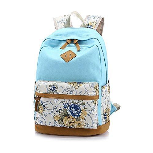 Yimidear zaino donna in tela per scuola casuale con decorazione fiore laptop entro 14 Blu chiaro