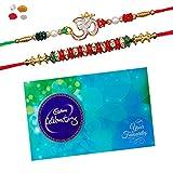 #8: Maalpani Rakhi And Chocolate - Two Jewel Daimond Om N Fancy Bead Rakhi With Cadbury Celebration Pack 224