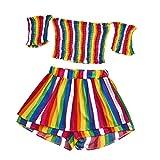 TUDUZ Shorts und Top Sets Damen Sommer Strand Zweiteiler Schulterfrei Sunflower Printed Beachwear Chiffon Crop Tops(Grün,M)