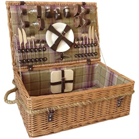 Traditional 4 Person Fitted Tartan Picnic Hamper / Basket by Thyme & (Woven Willow Picnic Basket)