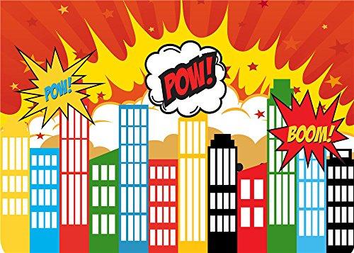 Daniu Netter Hintergrund Held Stadt Vinyl Fotografie Backdrops Cartoon Foto Studio Requisiten 7x5FT 210cm x 150cm Daniu-sc004