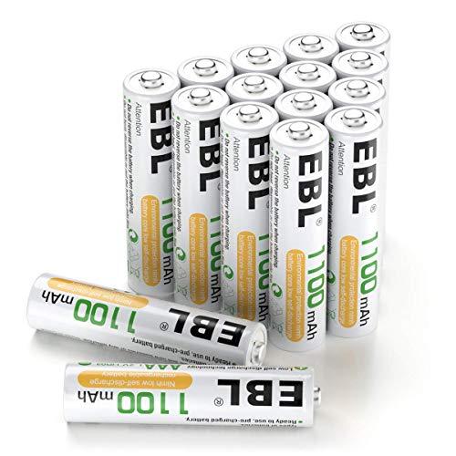 EBL AAA Akku 1100mah 16 Stück 1.2V NI-MH wiederaufladbare Batterien ohne Memory-Effekt mit Akkubox