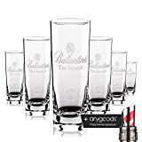 6X Ballantines Scotch Whisky Vetro/Occhiali Long Drink Gastro Bar decorativo