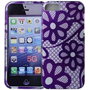 Hard Plastic Flower Pattern Detachable Protection Back Cover Case for iPhone 5-Purple
