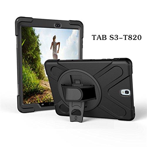Aprigy - F¨¹r Tab S3 SM-T820 Kids Safe STO?- Heavy Duty Silikon-Harte Fall-Abdeckung f¨¹r Samsung Galaxy Tab 9.7 S3 T820 T825 Hand Halten [Schwarz ]