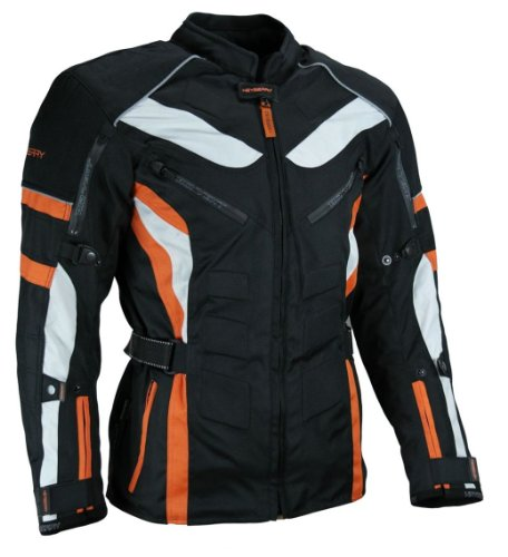 Heyberry Touren Motorrad Jacke Motorradjacke Textil schwarz orange Gr.L