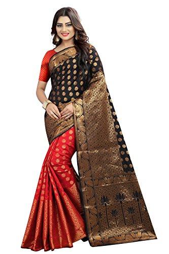 Tagline Women's Cotton silk Saree (VSLA01004RED_RED) (Black-Red)