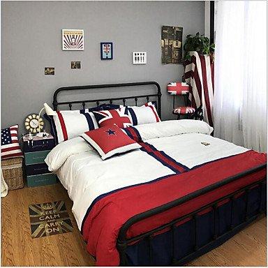 Peinture 4 Pièces Tissu de coton Fabriqué à la machine Tissu de coton 1 x Housse de couette 2 x Taies d'oreiller brodées 1 x Drap lit , ash-colored , queen