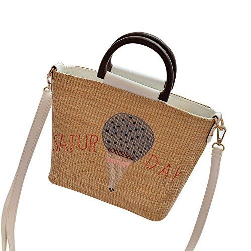 Wowus Ladies 2017 New Fashion Paglia Borsa A Tracolla Casual Messenger Bag Minimalista Borse Moda Bianca