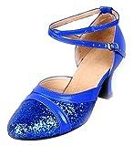 Honeystore Damen's Pailletten Runde Toe Latein Tanzschuhe Blau 5 UK
