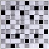 Ecoart Wandfliesenaufkleber Peel and Stick Self-Adhesive Wand-Fliese mit Mosaik-Effekt für Kitcheh Badezimmer Aufkantung Schwarz Grau Weiß 10